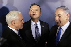 Wiceprezydent USA Mike Pence, prezydent RP Andrzej Duda oraz premier Izraela Benjamin Netanjahu na Zamku Królewskim w Warszawie podczas Konferencji Bliskowschodniej.