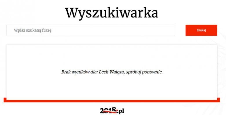 Ani słowa o Lechu Wałęsie na portalu poświęconym 100-leciu niepodległości Polski.