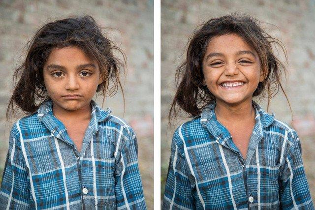 Fotograf z Bombaju robi zdjęcia obcym ludziom, prosi ich o uśmiech, a potem pokazuje ich na Facebooku.