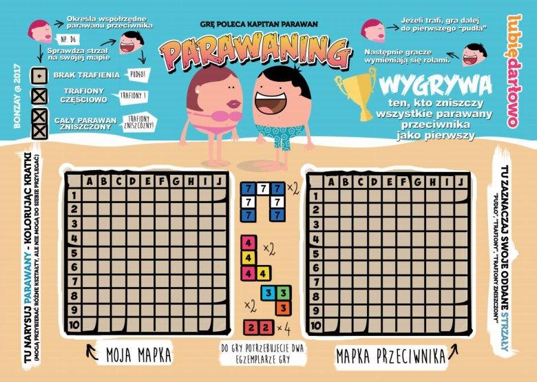 """W Darłowie powstała też gra """"Parawaning"""", którą poleca Kapitan Parawan. Cel to zniszczenie parawanu przeciwnika."""