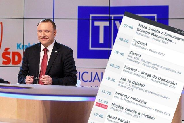 Niedzielna ramówka pierwszego programu telewizji publicznej.