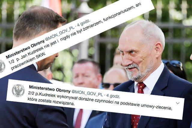 MON zaprzecza, żeby zatrudniało na umowę o pracę Jana Kudrelka. Pracował dla MON, ale na podstawie umowy zlecenia.