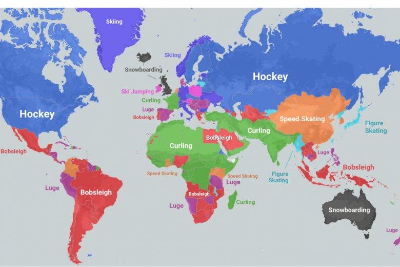 Mapa pokazuje, które zimowe sporty interesują najbardziej dany kraj