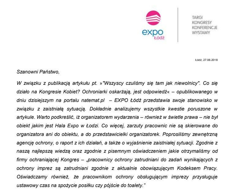 Oświadczenie EXPO Łódź.
