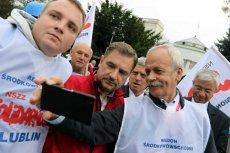 Związkowcy kochają Piotra Dudę. Na zdjęciu protest pod Sejmem 04.09.2015 r.