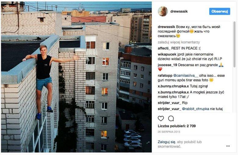 """Ten 17-latek z Rosji zginął robiąc sobie """"ostateczne selfie"""". Powyższe zdjęcie zrobił tydzień przed śmiercią."""