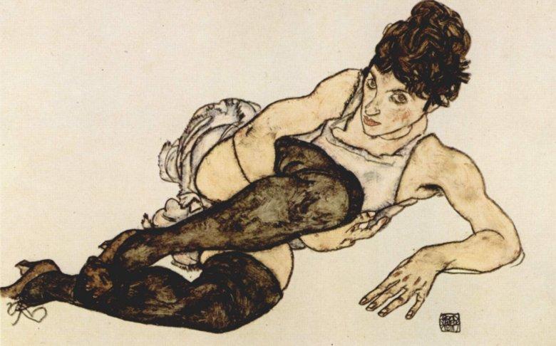 Egon Schiele - Frau mit grünen Strümpfen (Kobieta z zielonymi pończochami)