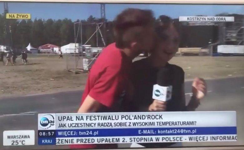 Podczas festiwalu Pol'and'Rock jeden z uczestników pocałował reporterkę TVN24.