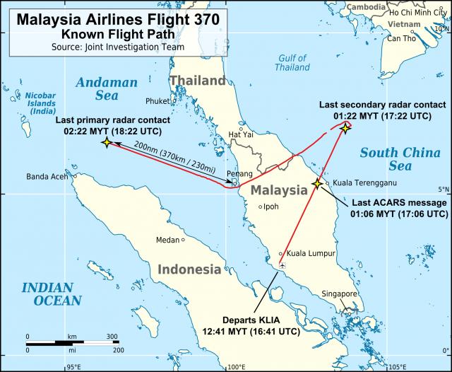 Jeden z prawdopodobnych kursów samolotu MH370.