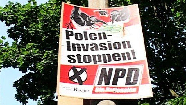 Antypolski haseł sojuszników NOP, niemieckiej neofaszystowksiej partii NPD.