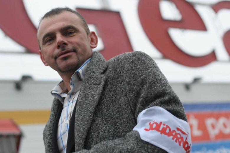 """Alfred Bujara - przewodniczący Krajowego Sekretariatu Banków Handlu i Ubezpieczeń NSZZ """"Solidarność""""."""