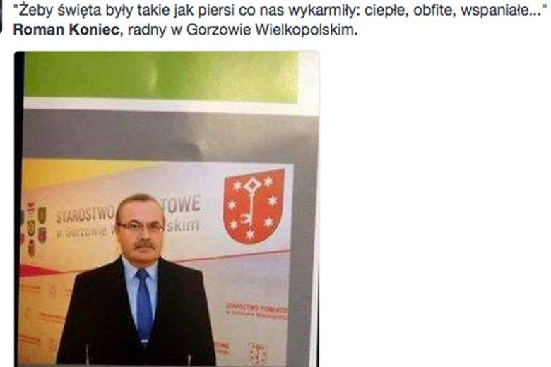 Radny PSL Roman Koniec (powiat Gorzów Wielkopolski) zamieścił w biuletynie powiatu życzenia, które wywołały burzę.