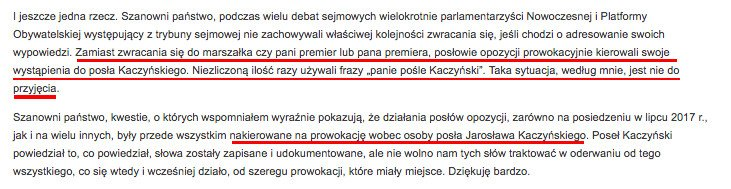 Fragment wystąpienia posła Włodzimierza Bernackiego na posiedzeniu Komisji Etyki Poselskiej.