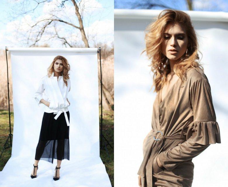 Białą ramoneskę można nosić zarówno jako kurtkę jak i zamiast bluzki