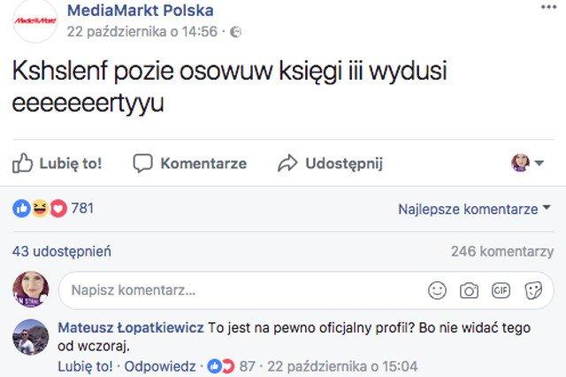 Atak hakera czy marketingowca? Internauci zastanawiają się, co się dzieje na profilu Media Markt na Facebooku.