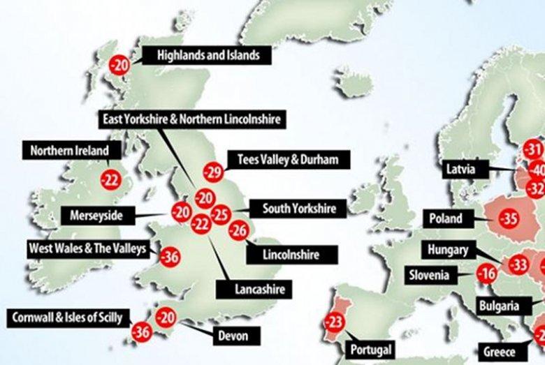 Poziom życia w niektórych częściach Wielkiej Brytanii jest niższy niż w Polsce