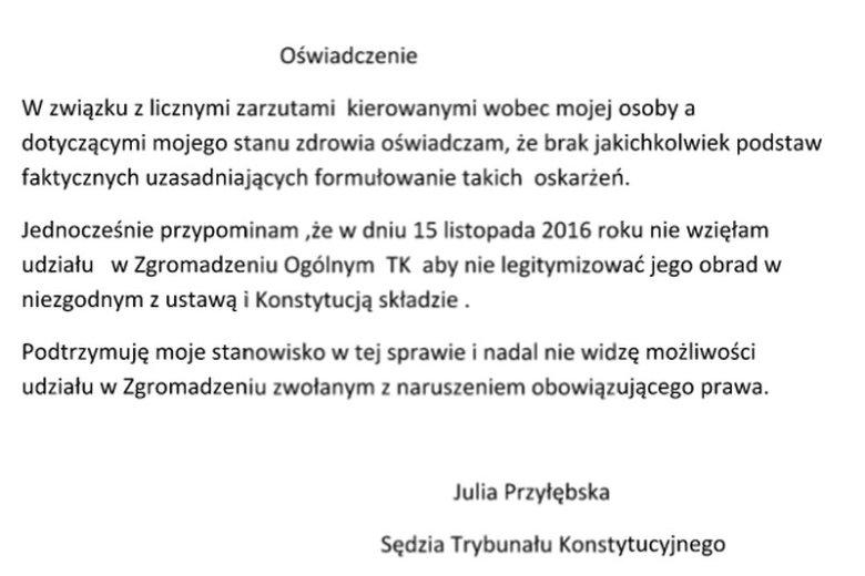 Oświadczenie wskazuje, że to nie z powodu choroby Julia Przyłębska nie pojawiła się w TK 30 listopada. 15 listopada też się nie pojawiła, a na zwolnieniu wówczas nie była.
