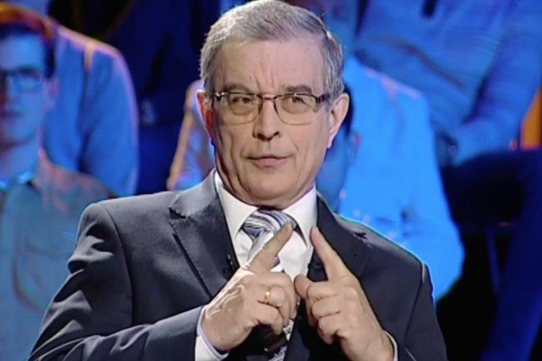 """Prof. Julian Auleytner, autor pomysłu 500+, w programie """"Państwo to My"""" w Polsat News."""