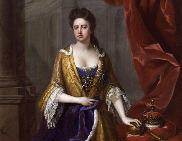 """Anna Stuart - królowa Anglii i Szkocji i Irlandii – wprowadziła w 1705 r. pierwsze prawo """"copyrightu"""" skierowane, o ironio, przeciw samowoli i arogancji londyńskich wydawców książek z Fleet Street."""