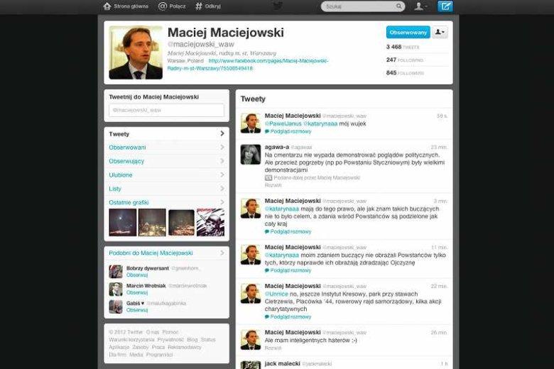 Screen z Twittera Macieja Maciejowskiego