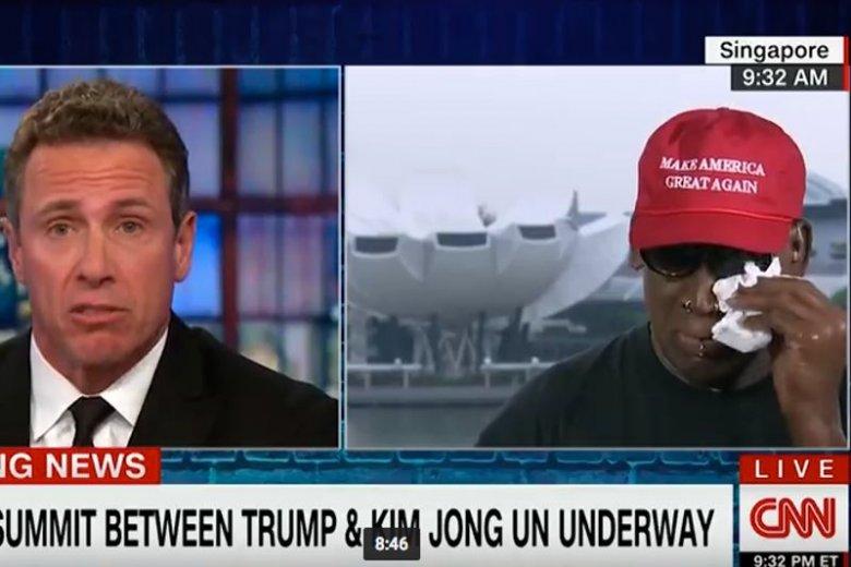 Denis Rodman, który mianuje się przyjacielem Kim Dzong Una, popłakał się w czasie wejścia na żywo.