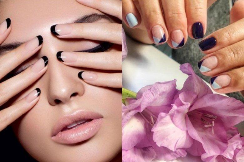 Jeżeli całkowicie czarne paznokcie nam nie pasują, możemy postawić na delikatniejsze czarne wzorki połączone z przezroczystym lakierem albo innymi kolorami