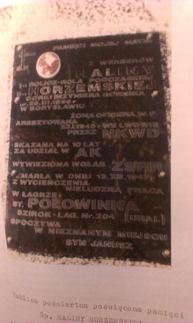 Tablica - epitafium we Fresztaku na grobie jej matki wykonane osobiście przez autora.