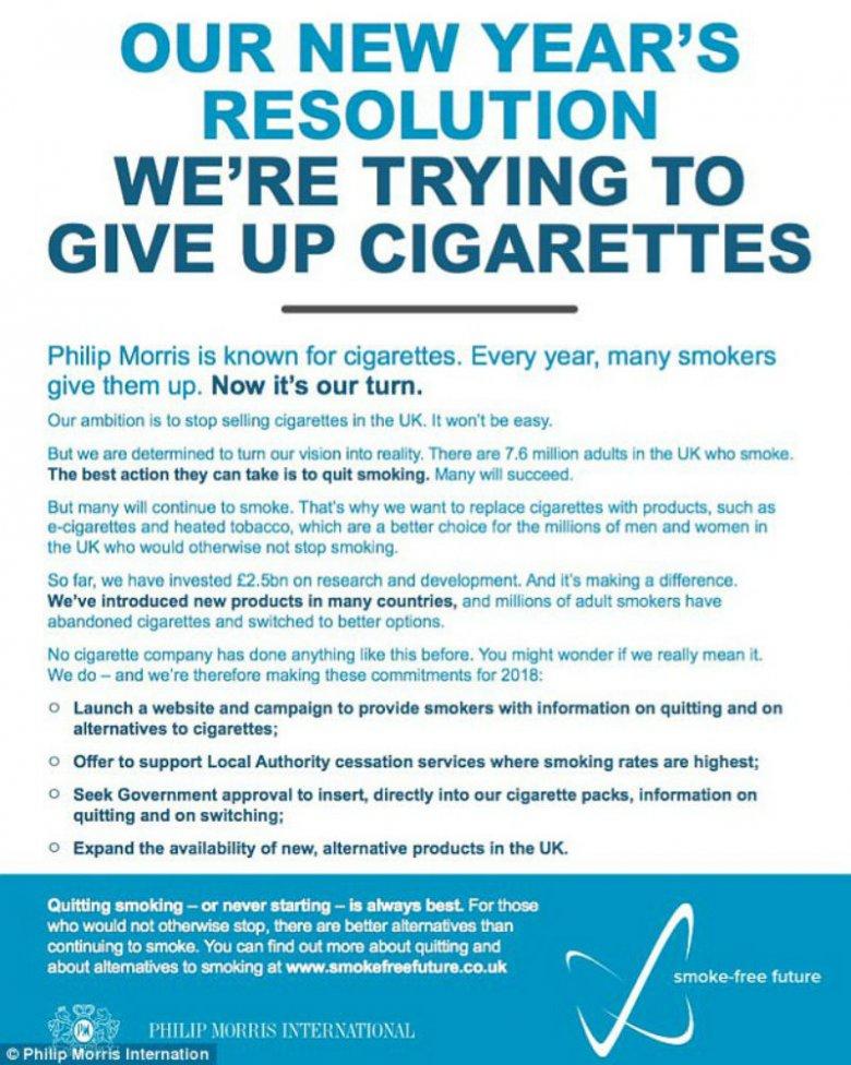 Deklaracja koncernu Philip Morris ukazała się w największych  brytyjskich dziennikach.