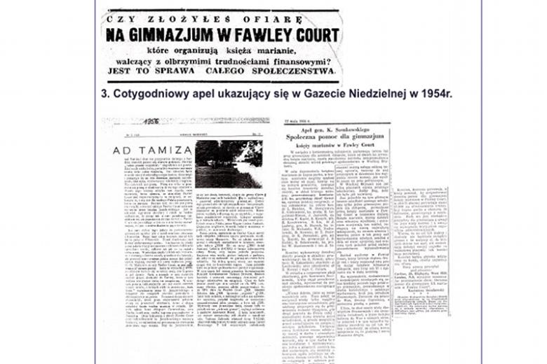 Dowód na to, że Marianie zakupili Fawley Court z datków emigracji