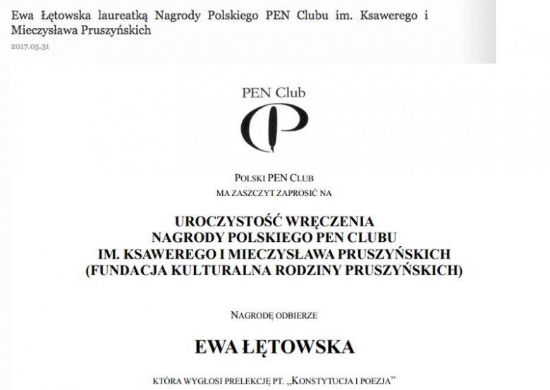 Prof. Ewa Łętowska miała dziś odebrać nagrodę im. Ksawerego i Mieczysława Pruszyńskich