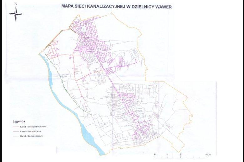 Mapa sieci kanalizacyjnej w Wawrze. Tam gdzie ulice są zaznaczone na fioletowo, tam sieć jest. Na szaro - kursują szambiarki. Mapa prezentuje stan z roku 2016, ale od tego czasu zmieniło się niewiele.
