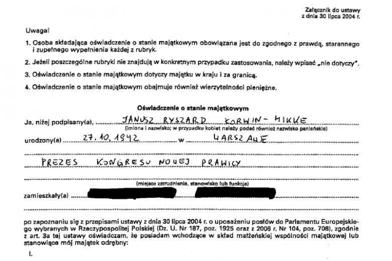 Oświadczenie majątkowe europosła Janusza Korwina-Mikkego.