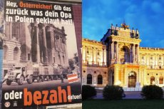 """W Warszawie pojawiły się plakaty po niemiecku, wzywające Austriaków do... """"zwrotu tego, co ukradli ich dziadkowie""""."""