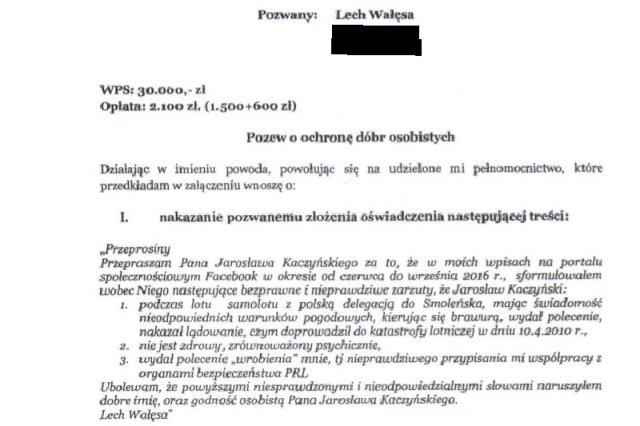 Jarosław Kaczyński pozywa Lecha Wałęsę. Prezes PiS poczuł się dotknięty słowami byłego prezydenta o tym, iż rzekomo przyczynił się do katastrofy smoleńskiej.