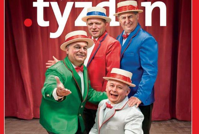 Prezes Jarosław Kaczyński i inni przywódczy Grupy Wyszehradzkiej na okładce słowackiego tygodnika.