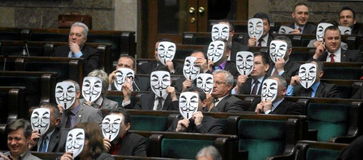 Protest przeciwko ACTA posłów Ruchu Palikota.