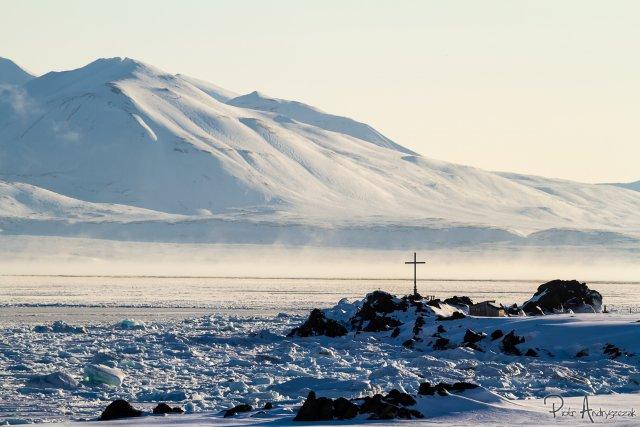 Parujący fiord Hornsund (temp. -20°C)