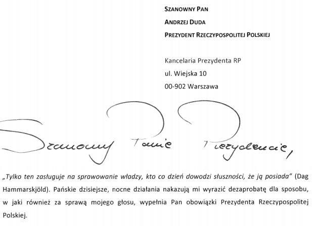 Początek listu przesłanego do prezydenta Andrzeja Dudy.