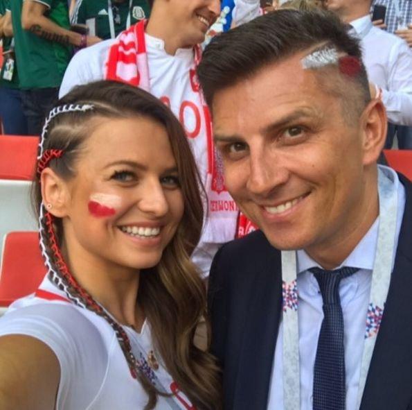 Mateusz Borek z Anną Lewandowską poczas mundialu w Rosji.