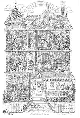 doodle art gallery coloring pages | Customer Image Gallery for Victorian House, Doodle Art