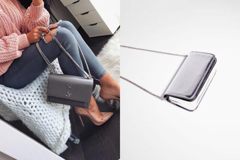 Szarości i srebro to idealne połączenie. torebka po prawej, Bershka, cena 79, 90 złotych