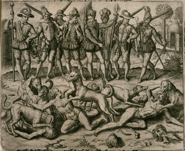 Ameryka, 1594 r. Hiszpański odkrywca, gubernator i konkwistador Vasco Núñez de Balboa karze Indian za popełnienie grzechu sodomii na śmierć przez rozszarpanie żywcem przez psy. Théodore de Bry (flamandzki kartograf, złotnik, rysownik i rytownik, 1528–1598