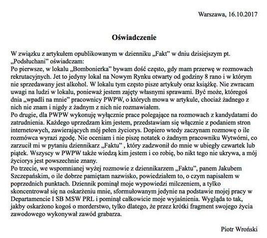 """Oświadczenie pułkownika Wrońskiego wydane po pierwszej publikacji """"Faktu"""" o podsłuchanych pracownikach PWPW. Po tym artykule stanowisko stracił prezes instytucji."""