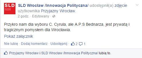 Komentarz zbuntowanej części SLD we Wrocławiu.