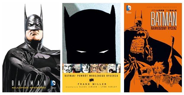 Okładki trzech wydanych niedawno przez Egmont alubmów o Batmanie