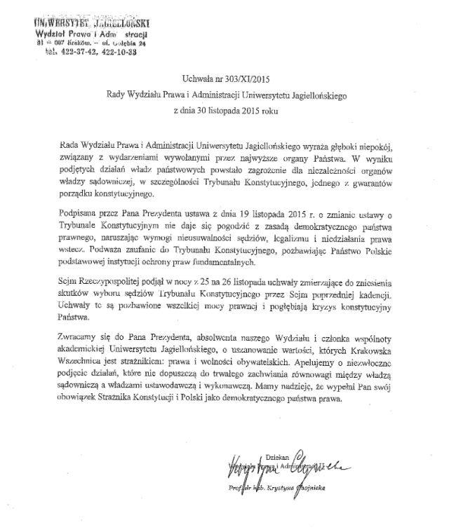 Treść uchwały przesłanej prezydentowi Dudzie.