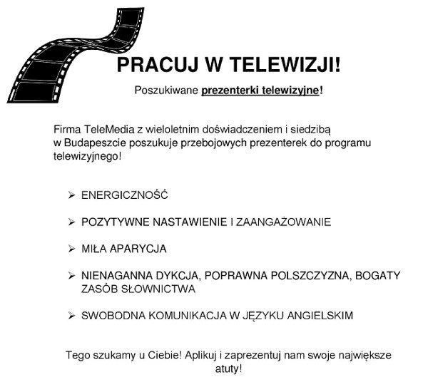 Fragment ogłoszenia o pracę dla prezenterek telewizyjnych.