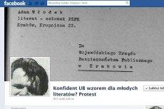 """""""Konfident UB wzorem dla młodych literatów? Protest"""" na Facebooku"""