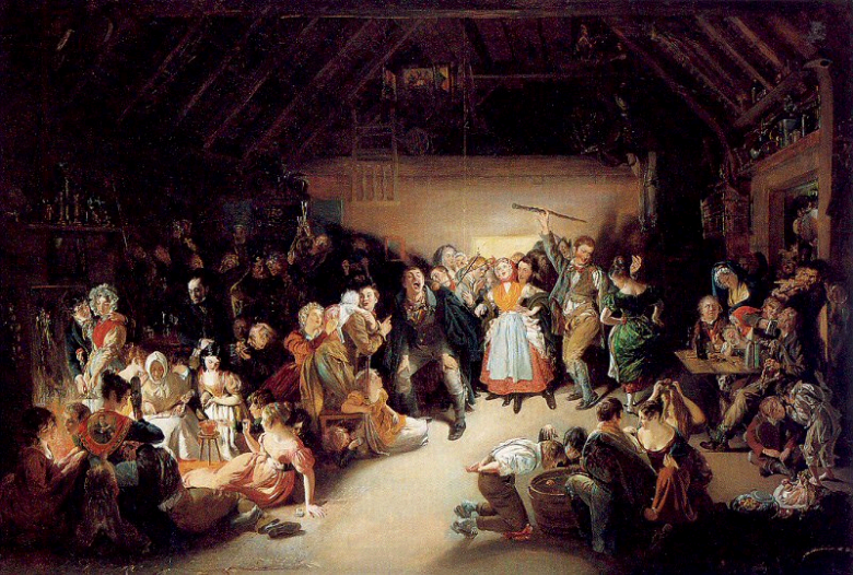 Halloween w Blarney w Irlandii. Obraz Daniela Maclisa z 1833 r.