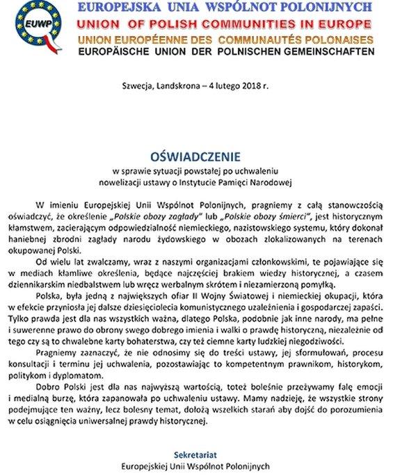 Oświadczenie EUWP.